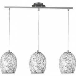 Crackled 3 light white pendant bar