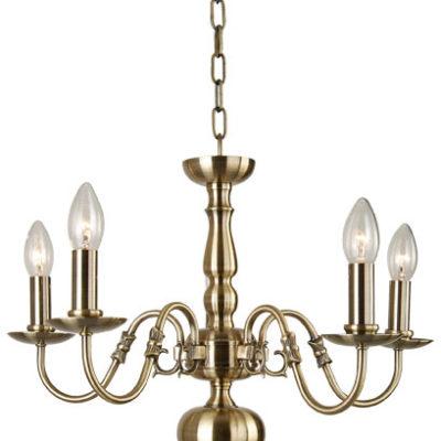 The Flemish 5 light antique brass