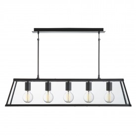 Voyager Matt Black Tapered 5 Light Lantern Bar Light with Clear Glass Shade